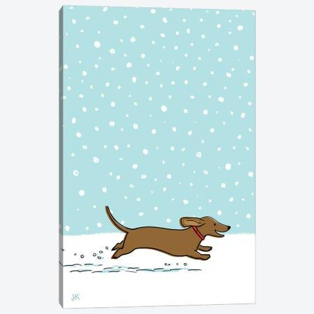 Winter Snow Wiener Dog Canvas Print #KYJ31} by Jenn Kay Canvas Wall Art