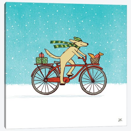 Cycling Dog And Squirrel Winter Holiday Canvas Print #KYJ3} by Jenn Kay Canvas Print