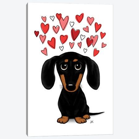 Black And Tan Dachshund With Valentine Hearts Canvas Print #KYJ4} by Jenn Kay Canvas Wall Art