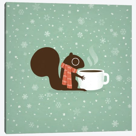 Coffee Squirrel Cozy Winter Holiday Canvas Print #KYJ7} by Jenn Kay Canvas Wall Art