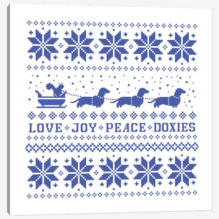 Dachshunds Holiday - Love Joy Peace Doxies Canvas Print #KYJ86} by Jenn Kay Canvas Artwork