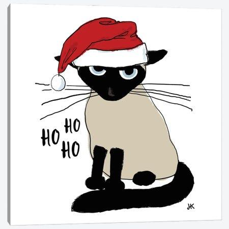 Siamese Santa Claws - Grouchy Christmas Cat Canvas Print #KYJ89} by Jenn Kay Canvas Print