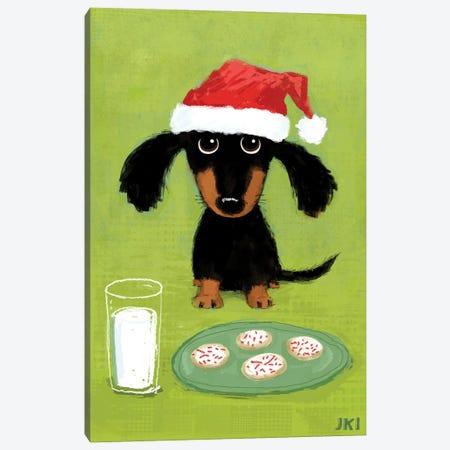Dachshund Santa With Milk And Cookies Canvas Print #KYJ95} by Jenn Kay Canvas Art Print
