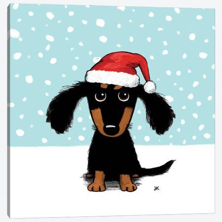 Black And Tan Dachshund Santa Dog Canvas Print #KYJ96} by Jenn Kay Canvas Print