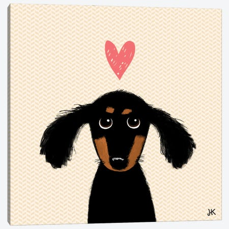 Cute Dachshund Puppy Dog With Heart Canvas Print #KYJ9} by Jenn Kay Canvas Art Print