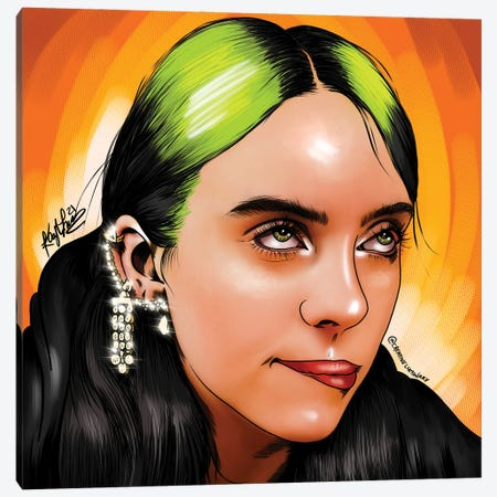 Billie Eilish Canvas Print #KYN11} by Kaylin Taraska Canvas Wall Art
