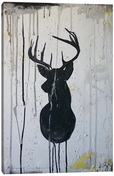 Black Deer Canvas Print #KYO168
