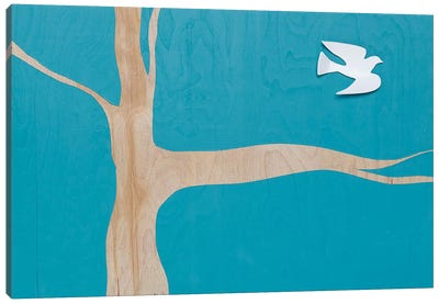 Lone Dove On Blue I Canvas Art Print