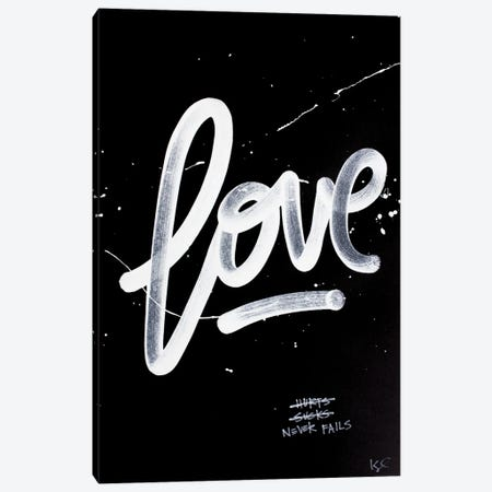 Love Never Fails Black Canvas Print #KYO385} by Kent Youngstrom Canvas Art Print