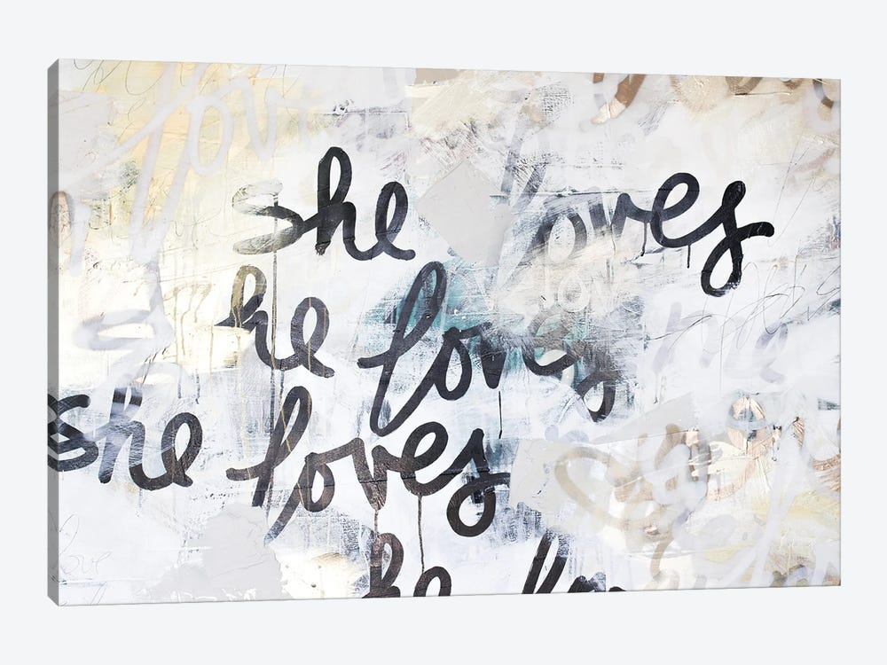 Gold Love Scribble by Kent Youngstrom 1-piece Canvas Art Print