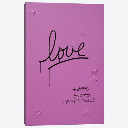 Love Hurts...Sucks…Never Fails In Pink & Black Canvas Print #KYO69} by Kent Youngstrom Canvas Wall Art