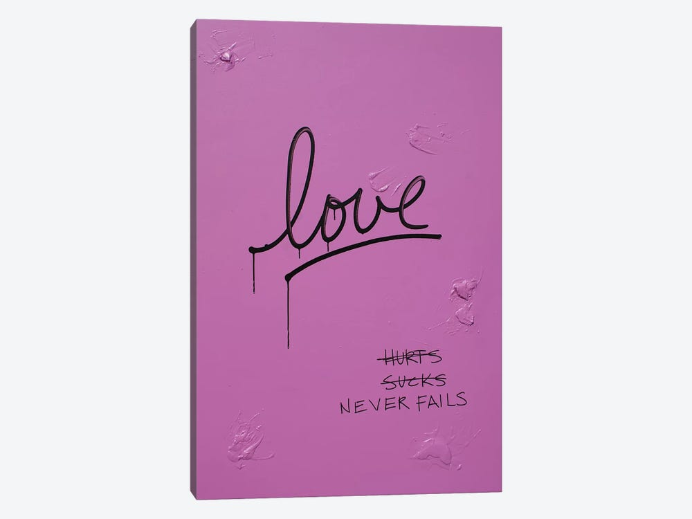Love Hurts...Sucks…Never Fails In Pink & Black by Kent Youngstrom 1-piece Canvas Art