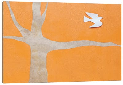 Lone Dove On Orange Canvas Art Print