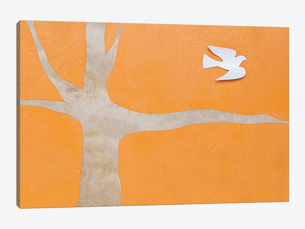 Lone Dove On Orange by Kent Youngstrom 1-piece Canvas Print