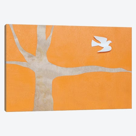 Lone Dove On Orange Canvas Print #KYO86} by Kent Youngstrom Canvas Print