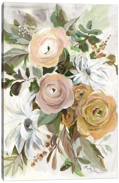 Golden Garden Flowers Canvas Art Print