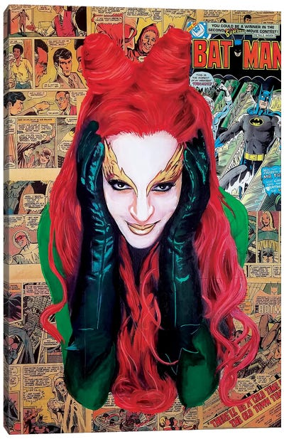Batman Poison Ivy Collage Canvas Art Print