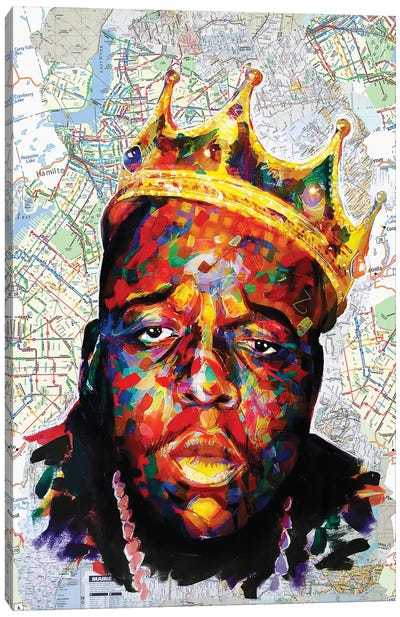 Biggie Map Style Canvas Art Print