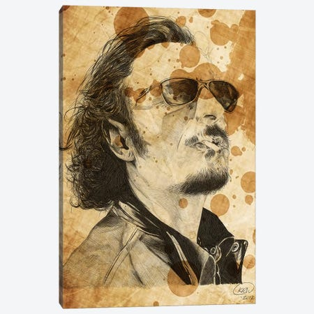Sons Of Anarchy Tig Trager Oil Stained Canvas Print #KYW58} by Kyle Willis Art Print