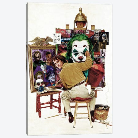 Batman Joker Self Portrait Rockwell Canvas Print #KYW8} by Kyle Willis Canvas Art Print