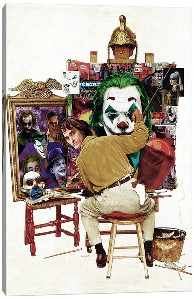 Batman Joker Self Portrait Rockwell Canvas Art Print