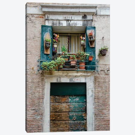 Italian Window Flowers I Canvas Print #LAD2} by Laura DeNardo Canvas Wall Art