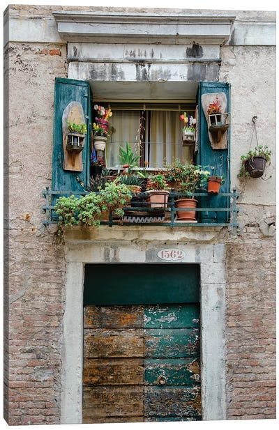 Italian Window Flowers I Canvas Art Print