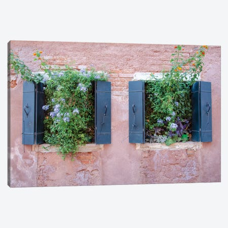 Italian Window Flowers II Canvas Print #LAD3} by Laura DeNardo Canvas Artwork