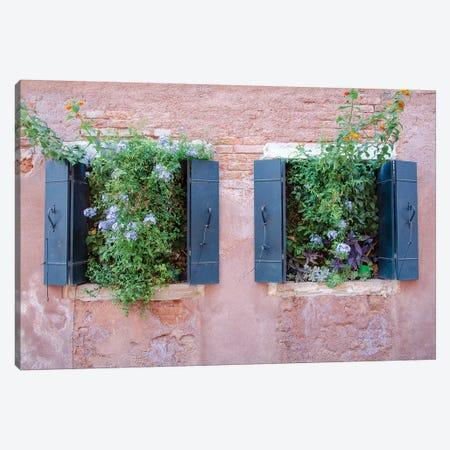 Italian Window Flowers II Canvas Print #LAD3} by Laura DeNardo Canvas Artwork