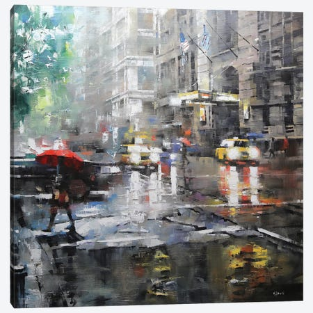 Manhattan Red Umbrella Canvas Print #LAG2} by Mark Lague Canvas Print