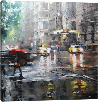Manhattan Red Umbrella Canvas Print #LAG2