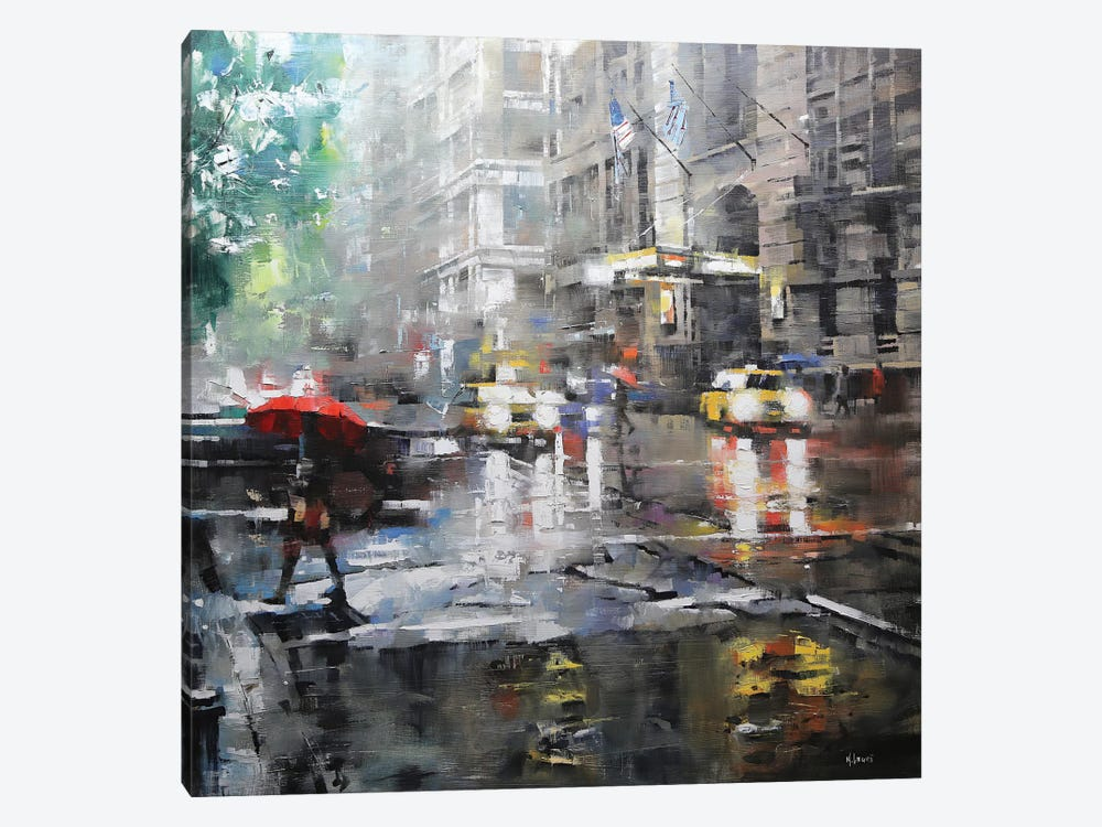 Manhattan Red Umbrella by Mark Lague 1-piece Canvas Wall Art
