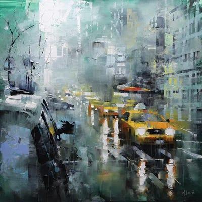 3 Piece Painting On Canvas Wall Art Nyc Street Lights New: New York Rain Canvas Artwork By Mark Lague