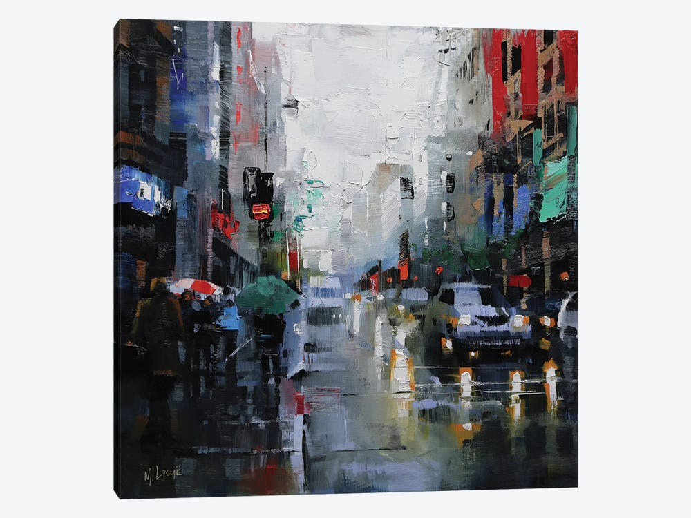 St. Catherine Street Rain by Mark Lague 1-piece Canvas Artwork