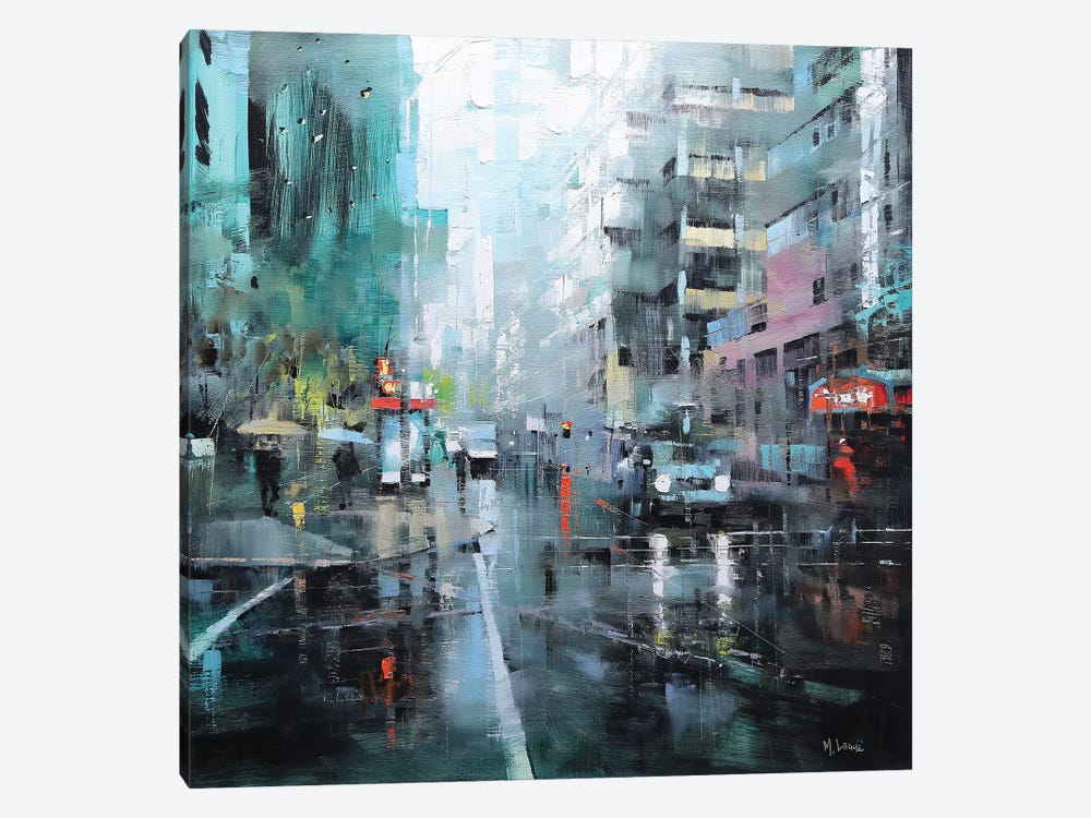 Montreal Turquoise Rain by Mark Lague 1-piece Canvas Art