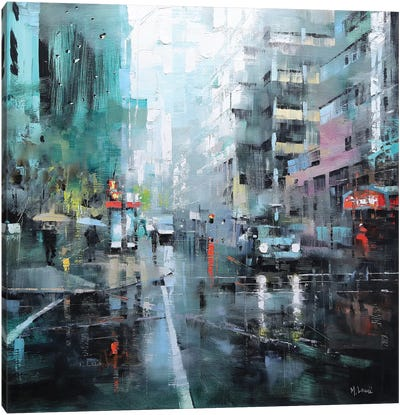 Montreal Turquoise Rain Canvas Print #LAG6