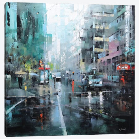 Montreal Turquoise Rain Canvas Print #LAG6} by Mark Lague Canvas Art