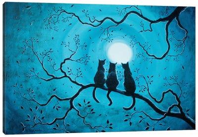 Three Black Cats Under A Full Moon Canvas Art Print