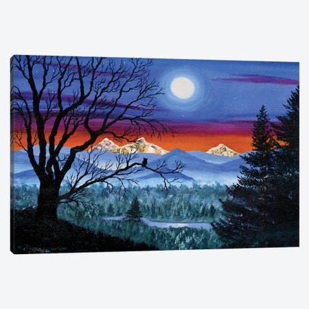 Three Sisters Overlooking A Moonlit River Canvas Print #LAI105} by Laura Iverson Canvas Artwork