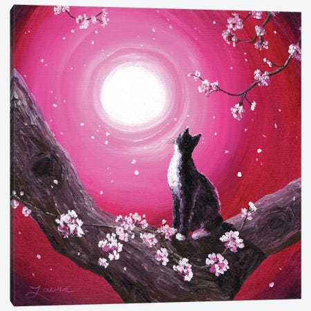 Tuxedo Cat In Cherry Blossoms Canvas Print #LAI107} by Laura Iverson Canvas Artwork