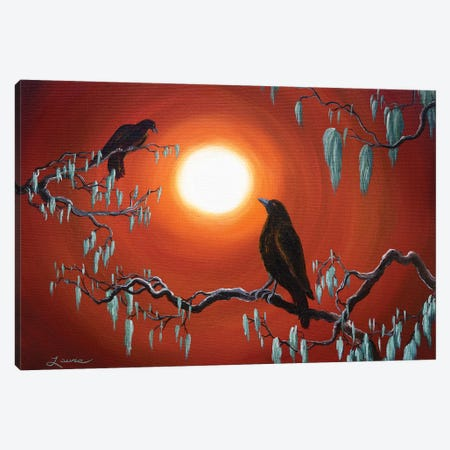 Two Crows On Mossy Branches Canvas Print #LAI109} by Laura Iverson Art Print