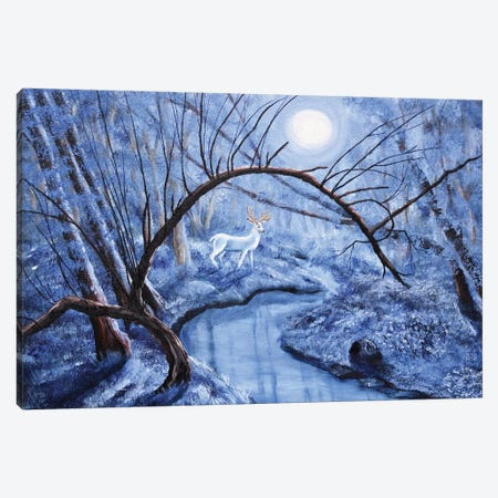 White Stag At Dunawi Creek Canvas Print #LAI111} by Laura Iverson Canvas Artwork