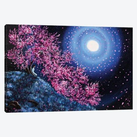 White Tara In Cascading Sakura Canvas Print #LAI112} by Laura Iverson Canvas Artwork