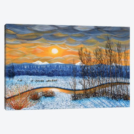 Winter River In Sunset Canvas Print #LAI113} by Laura Iverson Canvas Artwork