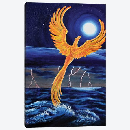 Phoenix Rising From The Ocean Canvas Print #LAI115} by Laura Iverson Canvas Art Print