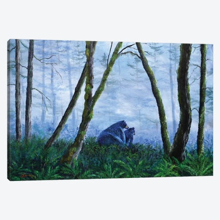Black Bears In The Mist Canvas Print #LAI11} by Laura Iverson Canvas Print