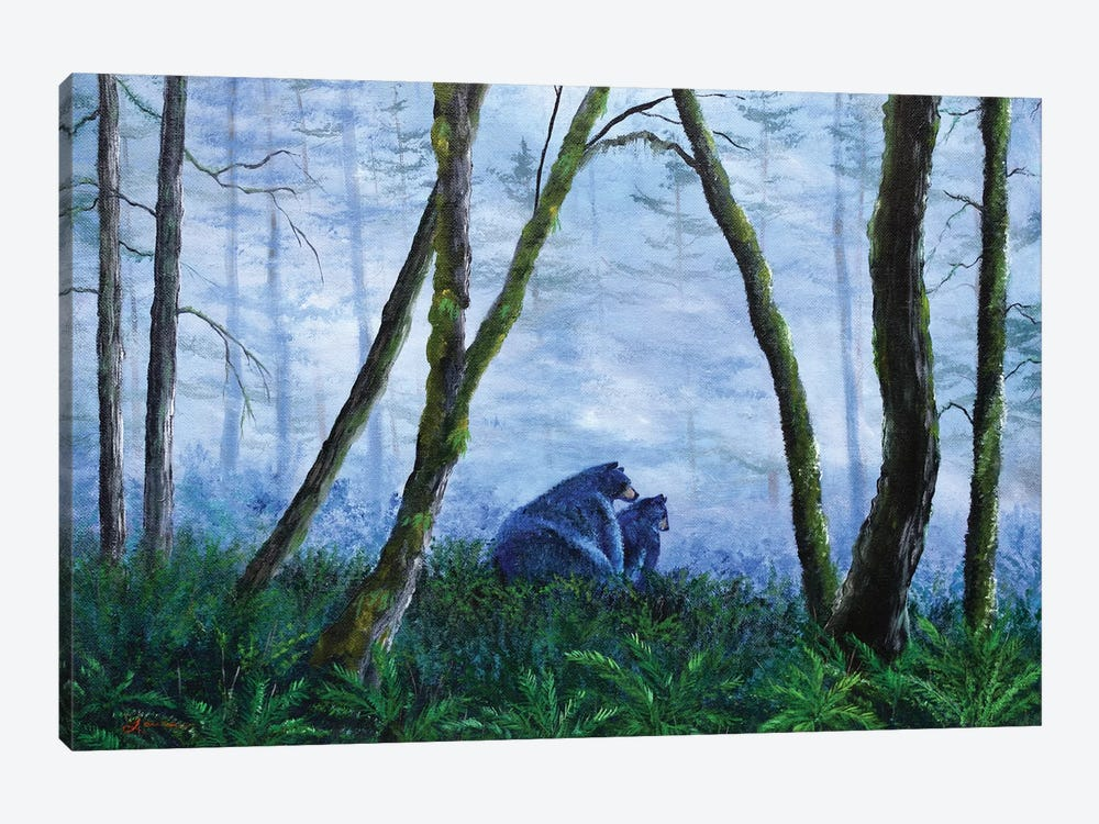 Black Bears In The Mist by Laura Iverson 1-piece Canvas Artwork