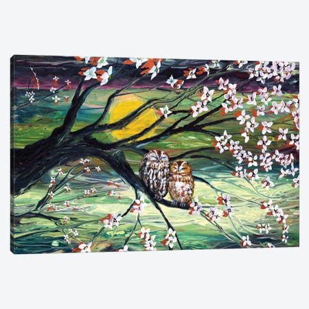 Sleepy Owls In Dogwood Blossoms Canvas Print #LAI124} by Laura Iverson Canvas Art