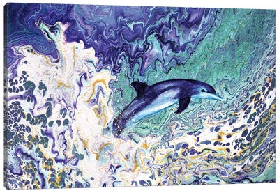 Dolphin Leaping From The Waves Canvas Art Print