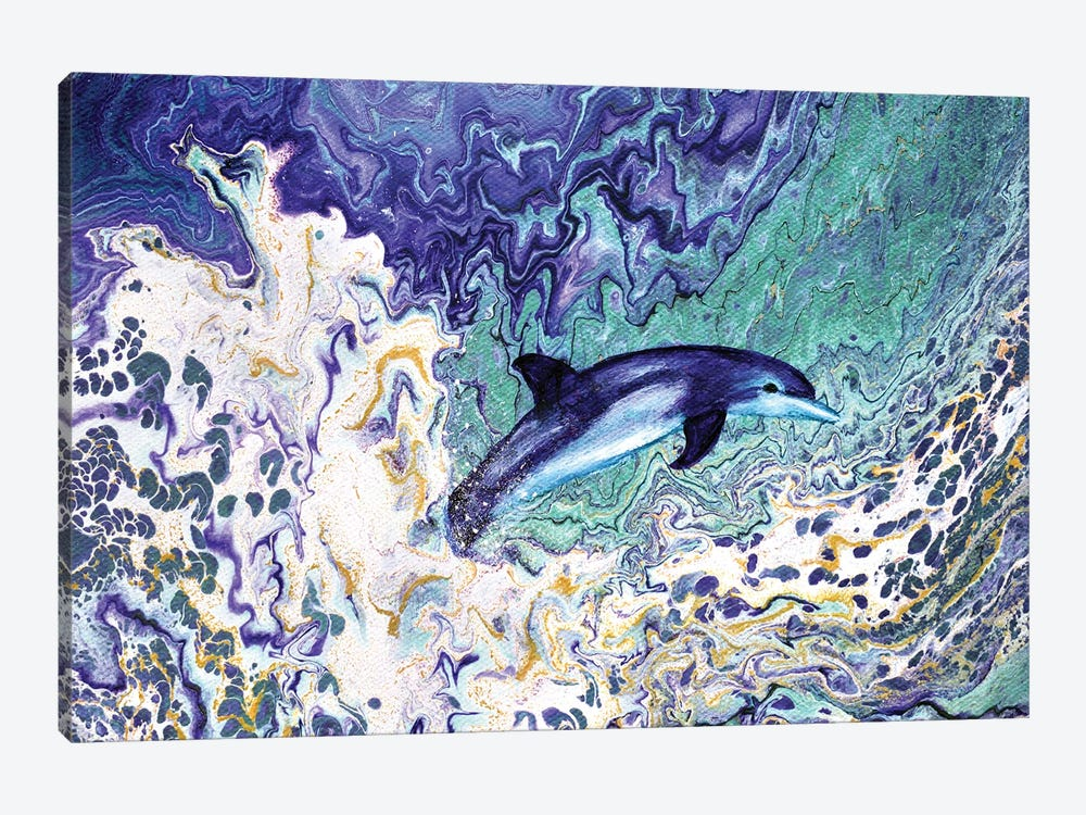 Dolphin Leaping From The Waves by Laura Iverson 1-piece Canvas Art